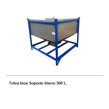 ENGMETAL Tolva Inox Soporte hierro 500 L.