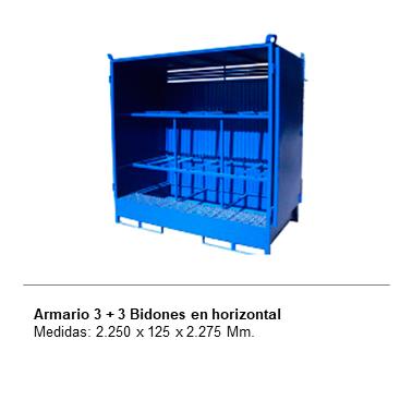 ENGMETAL Armario 3 + 3 Bidones en horizontal