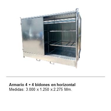 ENGMETAL Armario 4 + 4 bidones en horizontal